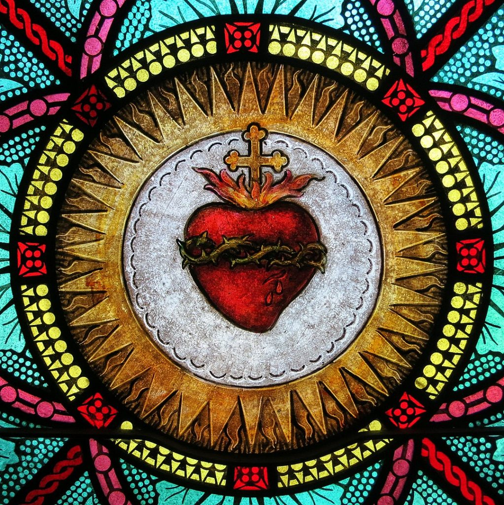 1079px All Saints Catholic Church St. Peters Missouri stained glass sacristy Sacred Heart detail