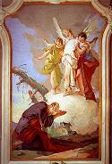 Giovanni BattistaTiepolo, Trzej Aniołowie ukazujący sie Abrahamowi, 1726-29, Pałac Arcybiskupi, Udine. Pobrano ze stron: CGFA - http://cgfa.sunsite.dk/tiepolo/tiepolo3.jpg