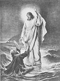Jezus ratujący Piotra. Połączono ze stroną: http://www.coptic.net/pictures/Tableau.RescuingPeter.gif