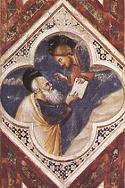 Giotto di Bondone, Mojżesz na górze Synaj, 1304-6, Kaplica Scrovenich. Połączono ze stroną: WGA - http://www.wga.hu/art/g/giotto/padova/decorati/10scenes.jpg