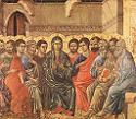 Duccio di Buoninsegna, Pięćdziesiątnica, 1308-11, Museo dell'Opera del Duomo, Siena. Połączono ze stroną: WGA - http://www.wga.hu/art/d/duccio/buoninse/maesta/crown_v/cro_v_h.jpg