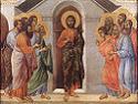 Duccio di Buoninsegna, Ukazanie się ze zamkniętymi drzwiami, 1308-11, Museo dell'Opera del Duomo, Siena. Połączono ze stroną: WGA - http://www.wga.hu/art/d/duccio/buoninse/maesta/crown_v/cro_v_a.jpg