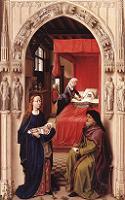 Roger van Weyden, Nadanie imienia synowi Zachariasza (lewy panel ołtarza Św. Jana), Muzeu Państwowe, Berlin. Połączono ze stroną: WGA - http://www.wga.hu/art/w/weyden/rogier/12stjohn/1john.jpg