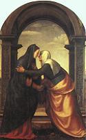 Mariotto Albertinelli, Nawiedzenie, 1503, Galeria Uffizich, Florencja. Pobrano ze strony: CFGA - http://cgfa.sunsite.dk/a/alberti1.jpg